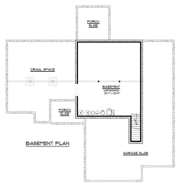 Craftsman Floor Plan - Lower Floor Plan #1064-79