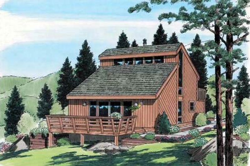Contemporary Style House Plan - 3 Beds 2 Baths 1298 Sq/Ft Plan #312-602 Exterior - Front Elevation