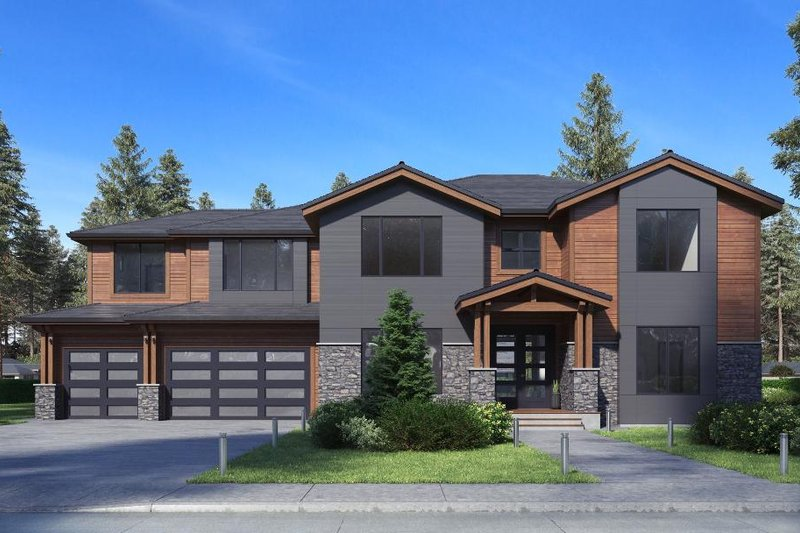 Traditional Style House Plan - 5 Beds 4.5 Baths 3173 Sq/Ft Plan #1066-75 Exterior - Front Elevation