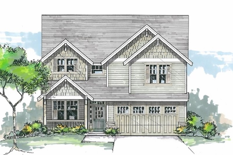 Craftsman Style House Plan - 3 Beds 2.5 Baths 2187 Sq/Ft Plan #53-453 Exterior - Front Elevation