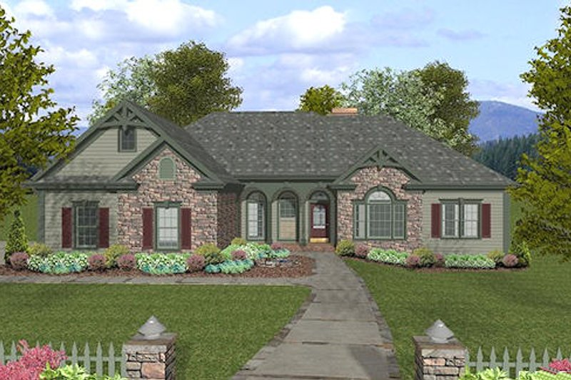 Traditional Style House Plan - 4 Beds 2.5 Baths 2000 Sq/Ft Plan #56-578 Exterior - Front Elevation