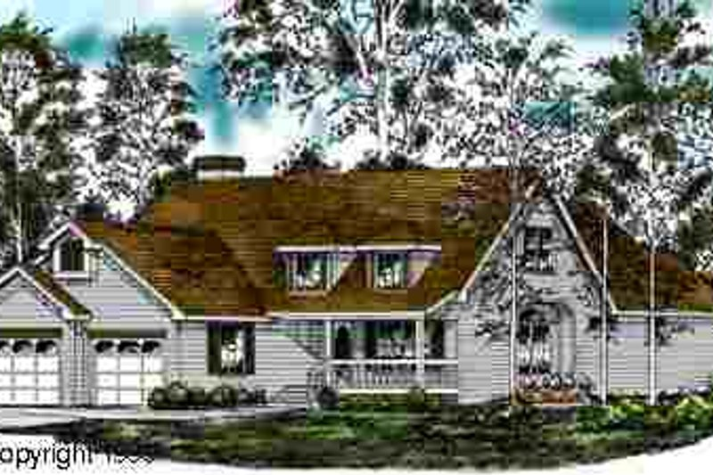 Country Style House Plan - 3 Beds 3.5 Baths 2371 Sq/Ft Plan #40-109 Exterior - Front Elevation