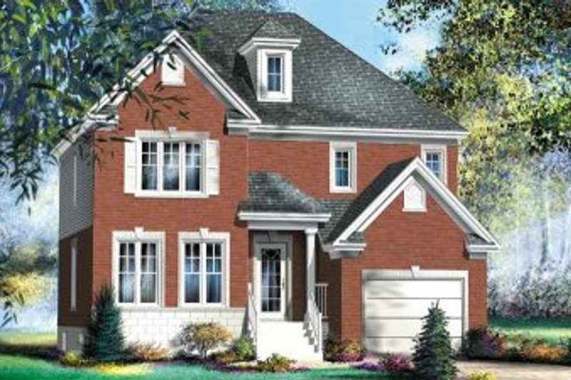 European Style House Plan - 4 Beds 1.5 Baths 1738 Sq/Ft Plan #25-4154 Exterior - Front Elevation