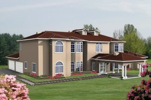 Mediterranean Exterior - Front Elevation Plan #1-938