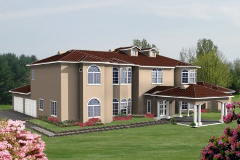 Mediterranean Style House Plan - 4 Beds 5 Baths 5157 Sq/Ft Plan #1-938 Exterior - Front Elevation