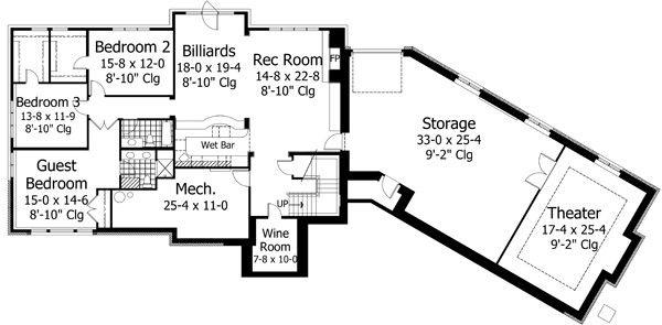 European Floor Plan - Lower Floor Plan Plan #51-547