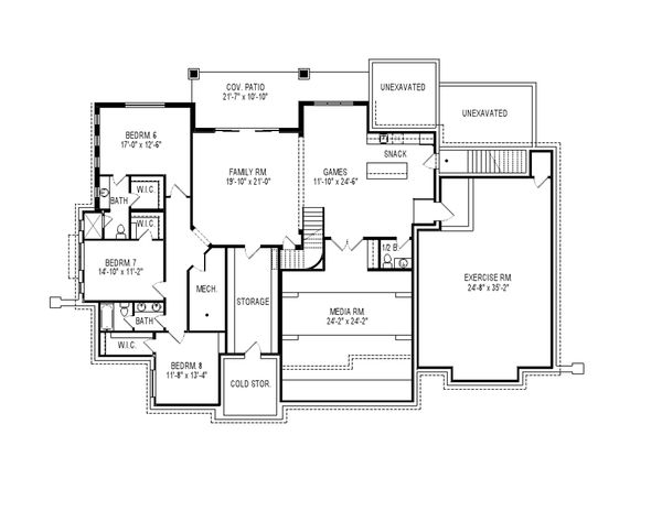 Craftsman Style House Plan - 8 Beds 7 Baths 8903 Sq/Ft Plan #920-31 Floor Plan - Lower Floor Plan