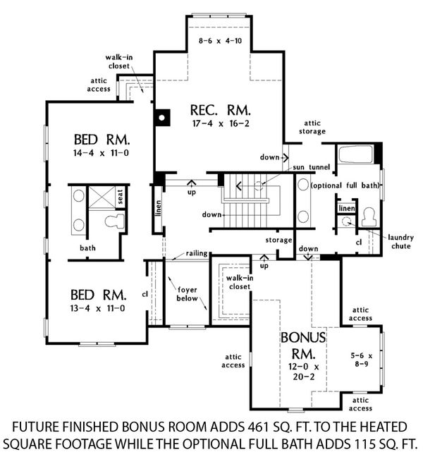 Farmhouse Floor Plan - Upper Floor Plan #929-1064