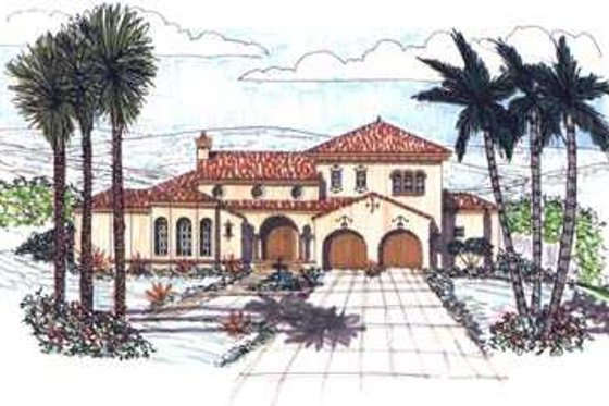 Mediterranean Exterior - Front Elevation Plan #76-112