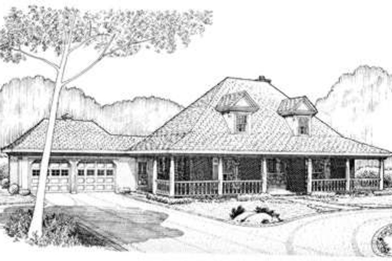 Southern Exterior - Front Elevation Plan #410-385