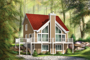 Cabin Style House Plan - 3 Beds 1 Baths 1382 Sq/Ft Plan #25-4587 Exterior - Front Elevation