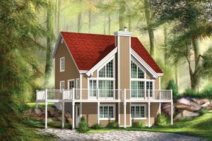 Cabin Exterior - Front Elevation Plan #25-4587