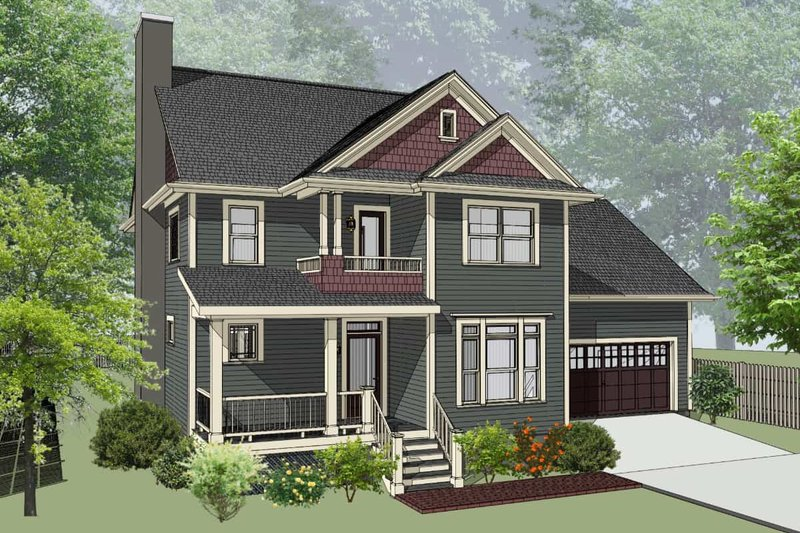 Country Style House Plan - 3 Beds 2.5 Baths 2141 Sq/Ft Plan #79-258 Exterior - Front Elevation