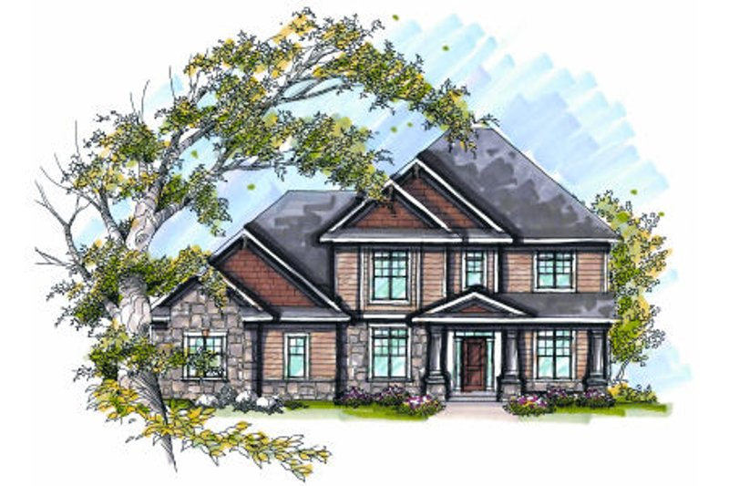 Craftsman Exterior - Front Elevation Plan #70-1000