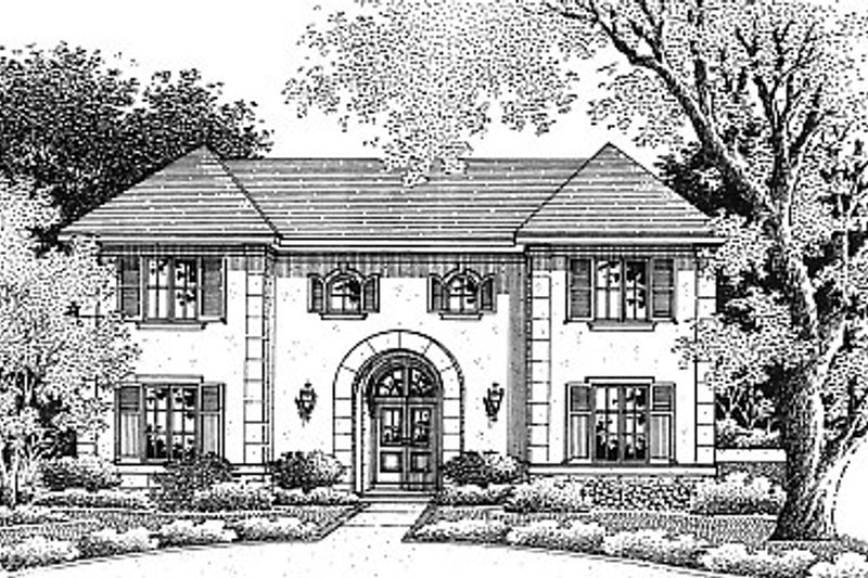 Mediterranean Exterior - Front Elevation Plan #14-208