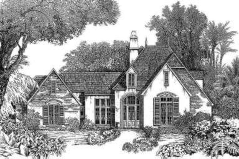 European Style House Plan - 4 Beds 3 Baths 2625 Sq/Ft Plan #301-113 Exterior - Front Elevation