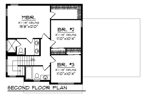 Farmhouse Floor Plan - Upper Floor Plan Plan #70-1454