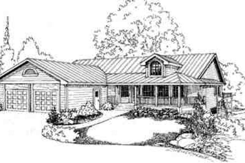 Traditional Style House Plan - 3 Beds 2.5 Baths 2214 Sq/Ft Plan #60-596 Exterior - Front Elevation