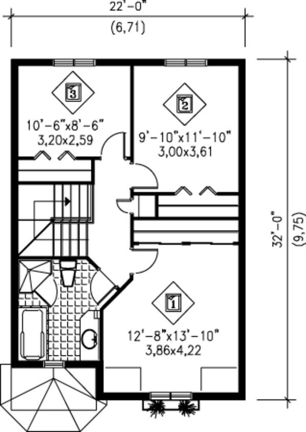 Victorian Floor Plan - Upper Floor Plan Plan #25-4228