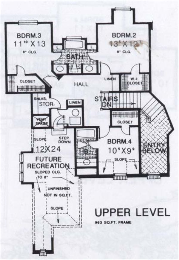 Colonial Floor Plan - Upper Floor Plan #310-912