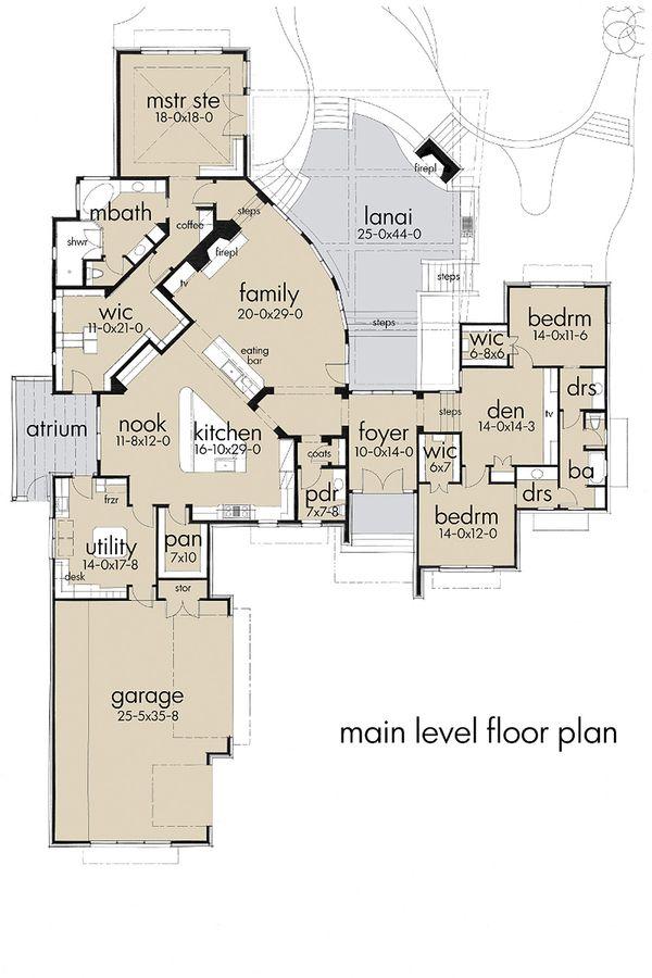 Contemporary style, modern design house plan, main level floor plan