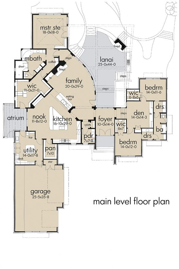 Dream House Plan - Contemporary style, modern design house plan, main level floor plan