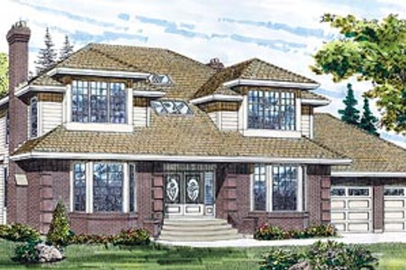 Traditional Style House Plan - 4 Beds 3 Baths 3089 Sq/Ft Plan #47-197 Exterior - Front Elevation