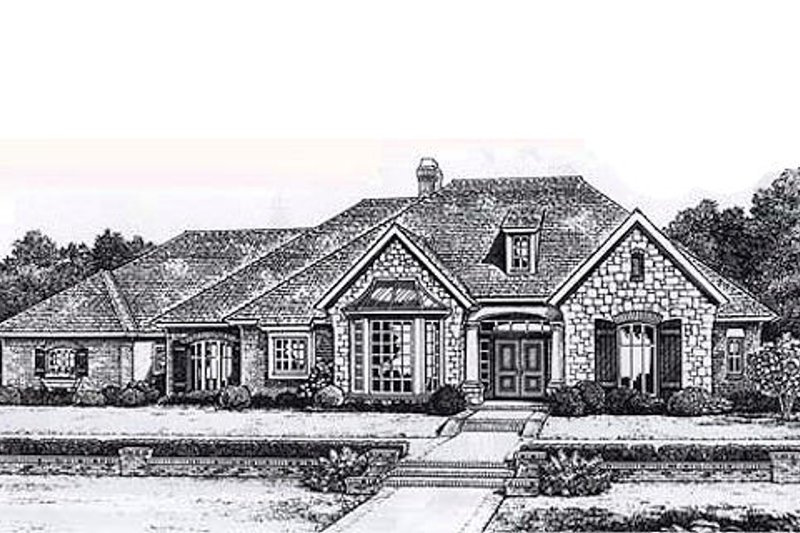 Traditional Style House Plan - 3 Beds 2.5 Baths 2535 Sq/Ft Plan #310-837 Exterior - Front Elevation