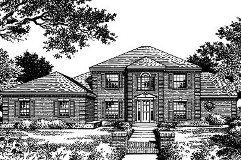 Colonial Style House Plan - 5 Beds 3.5 Baths 2750 Sq/Ft Plan #417-328 Exterior - Front Elevation