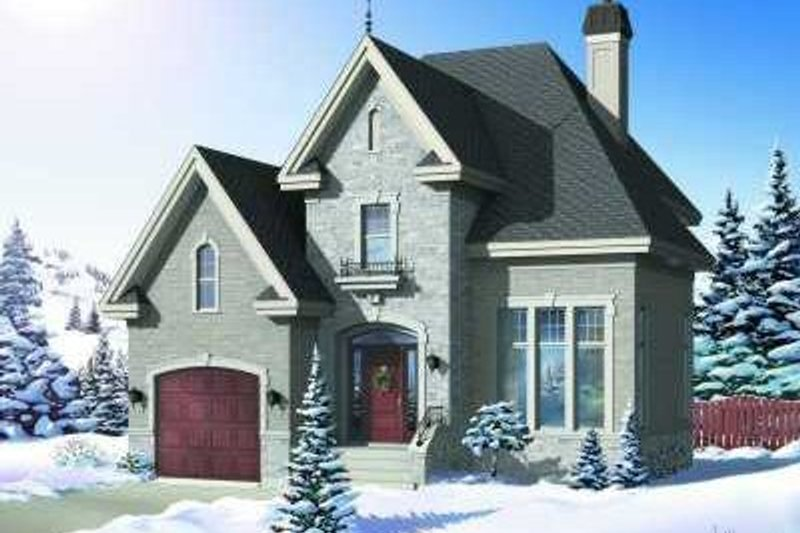 European Style House Plan - 3 Beds 2 Baths 1727 Sq/Ft Plan #23-360 Exterior - Front Elevation