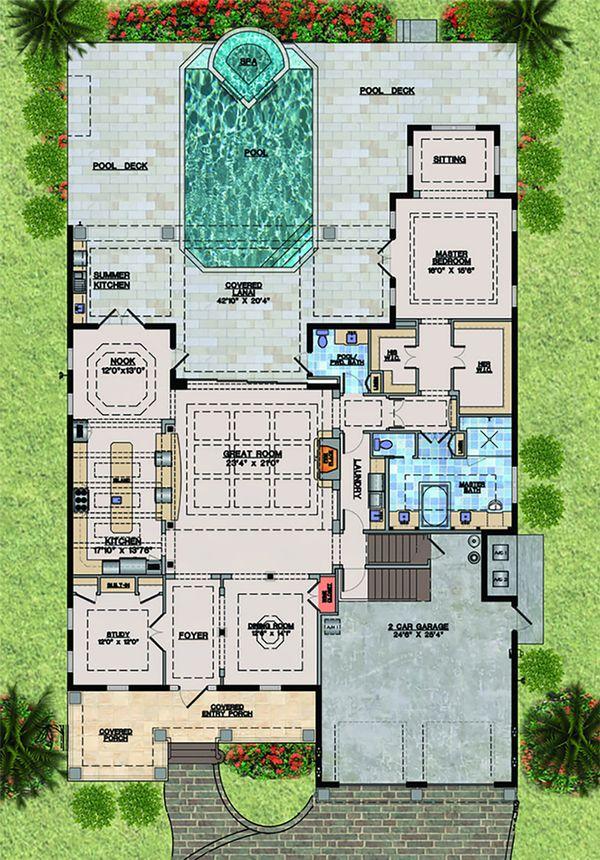 Beach Floor Plan - Main Floor Plan Plan #548-20