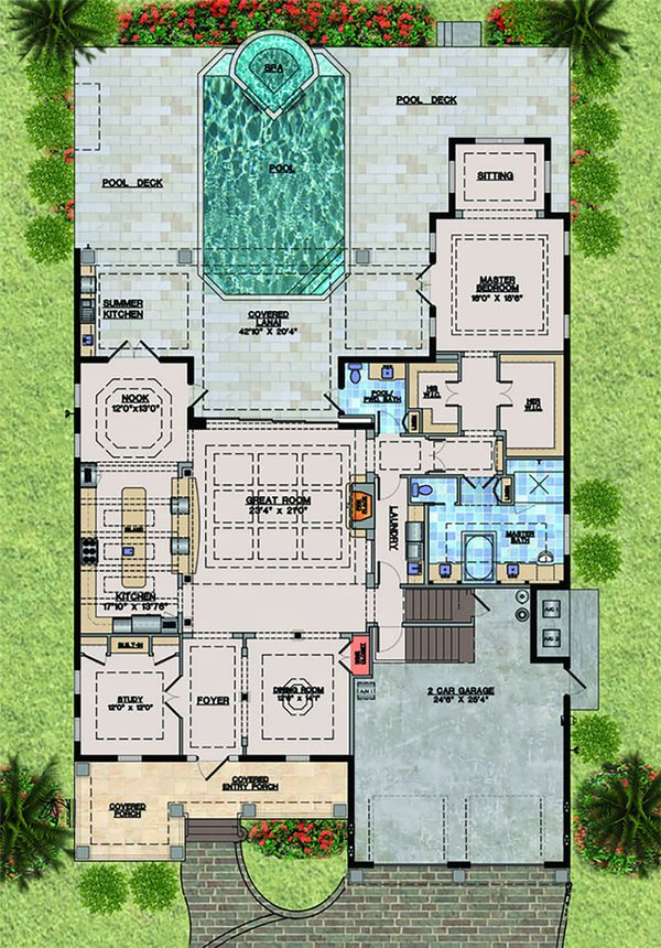 Beach Floor Plan - Main Floor Plan Plan #548-20
