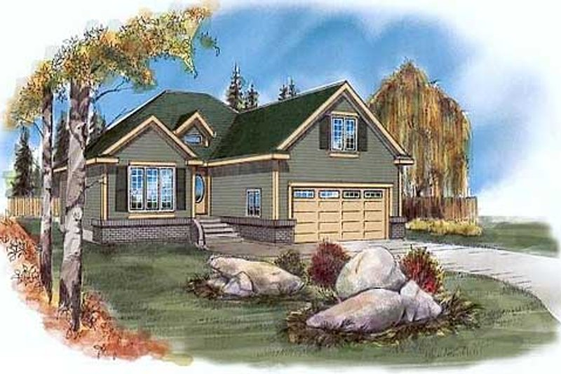 Traditional Style House Plan - 3 Beds 2 Baths 1228 Sq/Ft Plan #409-114 Exterior - Front Elevation