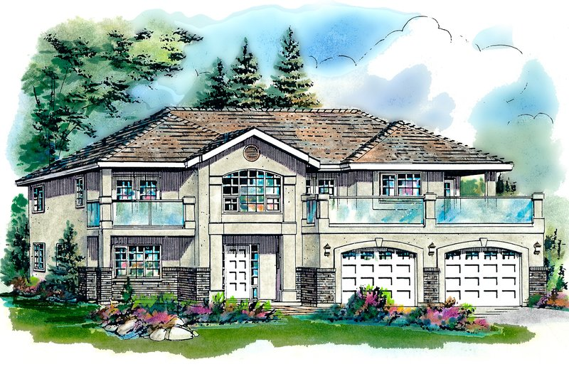 House Blueprint - Mediterranean Exterior - Front Elevation Plan #18-253