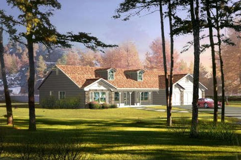 Traditional Style House Plan - 4 Beds 2.5 Baths 2814 Sq/Ft Plan #1-689 Exterior - Front Elevation