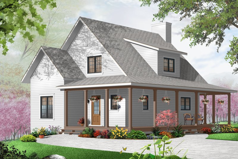 Cottage Style House Plan - 3 Beds 2 Baths 1370 Sq/Ft Plan #23-2295
