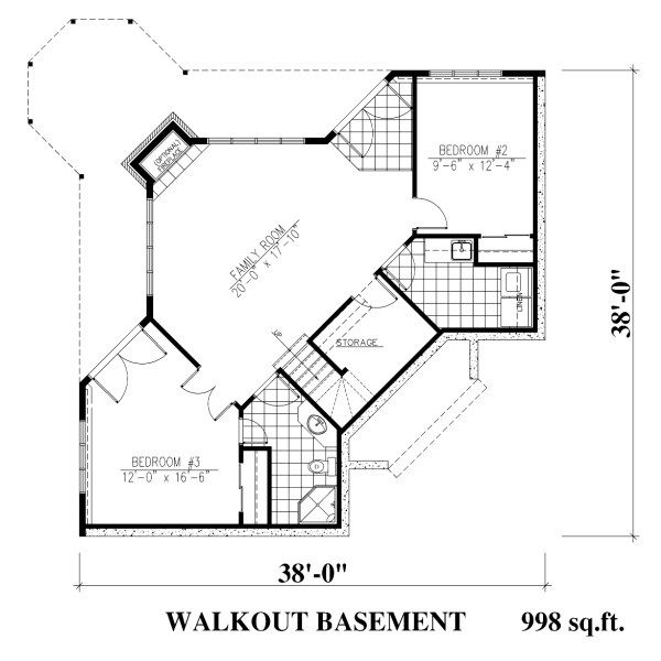 Traditional Floor Plan - Lower Floor Plan Plan #138-340