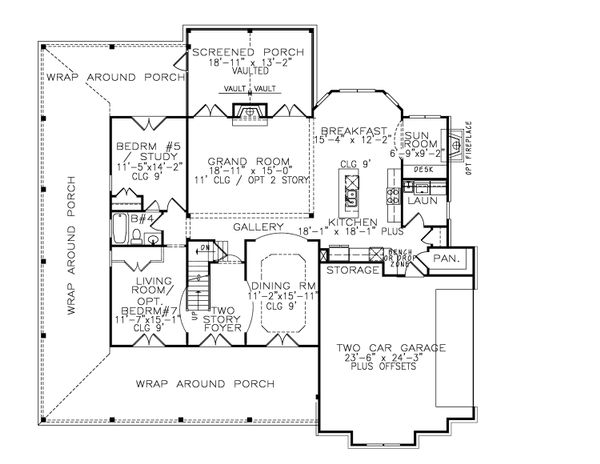 Farmhouse Floor Plan - Main Floor Plan #54-378