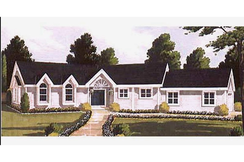 Architectural House Design - Ranch Exterior - Front Elevation Plan #3-132
