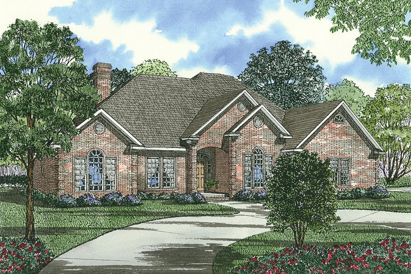 European Style House Plan - 3 Beds 2 Baths 2534 Sq/Ft Plan #17-1038