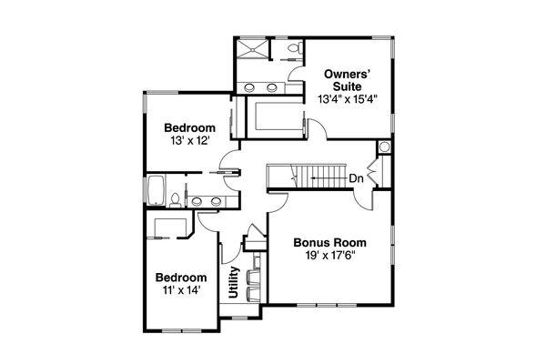Traditional Floor Plan - Upper Floor Plan Plan #124-1018