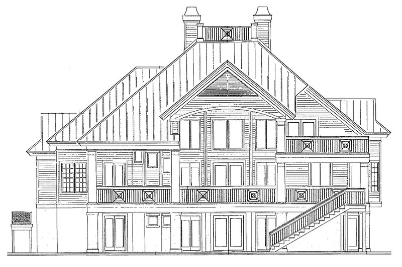 Southern Exterior - Rear Elevation Plan #930-18 - Houseplans.com