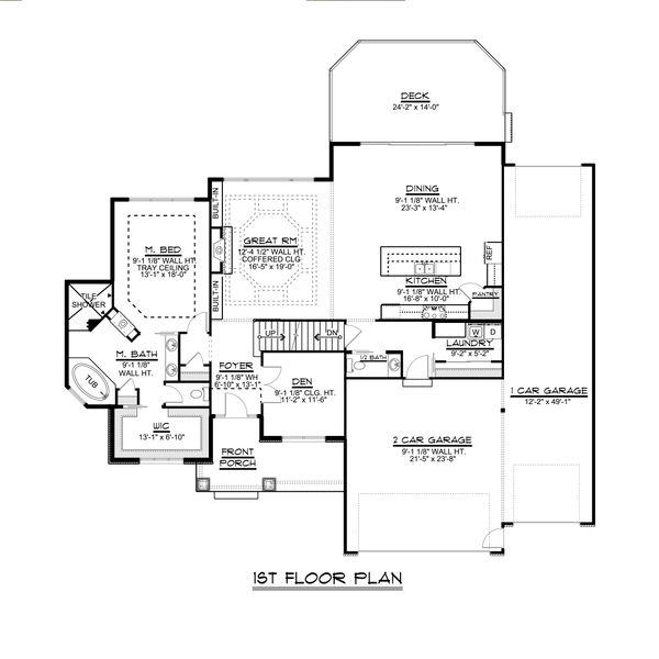 Craftsman Floor Plan - Main Floor Plan Plan #1064-29
