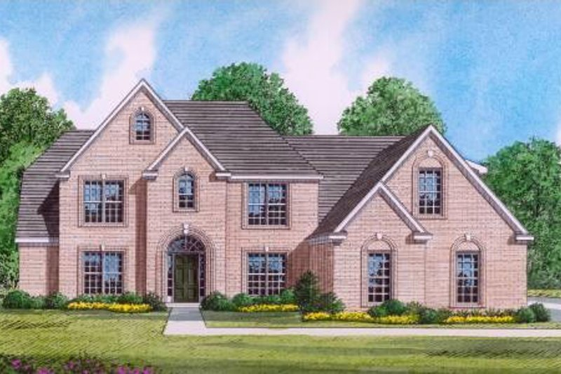 Traditional Style House Plan - 5 Beds 4 Baths 3664 Sq/Ft Plan #424-32 Exterior - Front Elevation