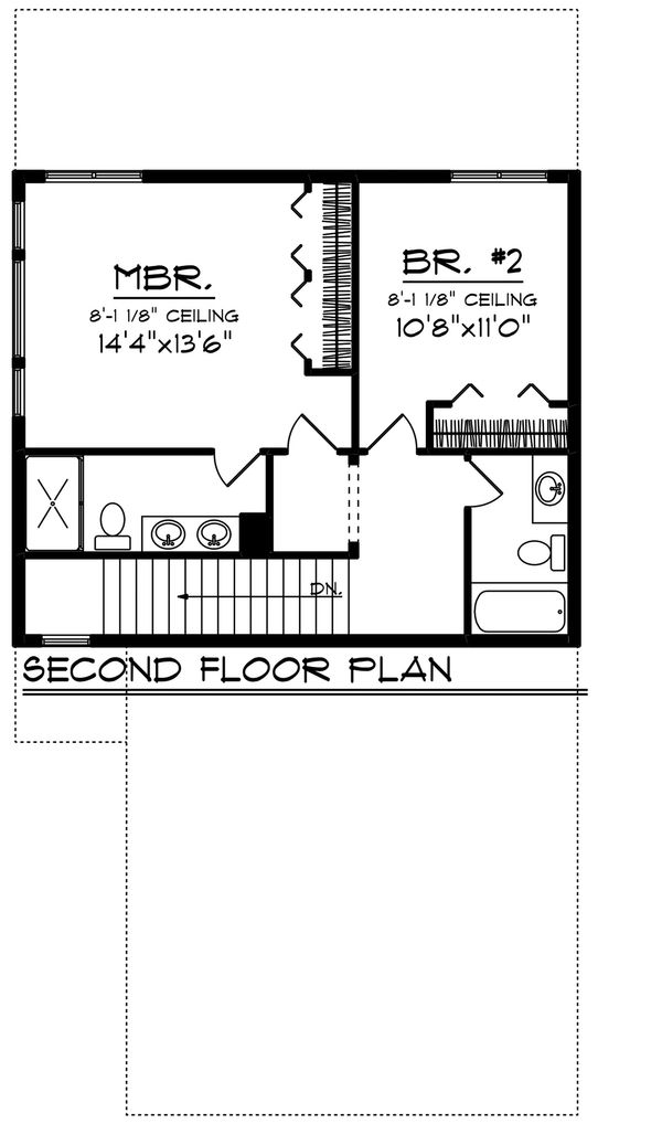 Craftsman Floor Plan - Upper Floor Plan Plan #70-1492
