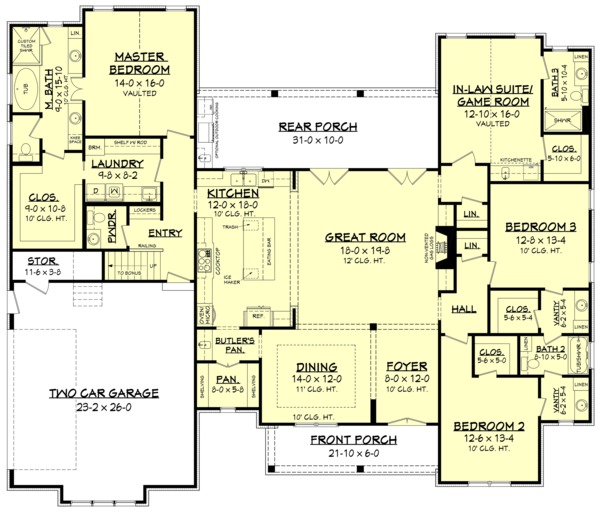 Farmhouse Floor Plan - Main Floor Plan Plan #1067-4