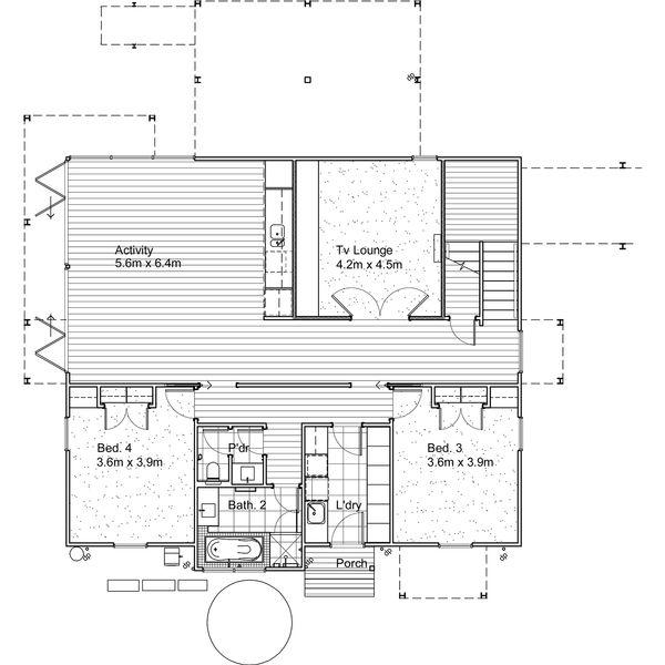 Modern style House plan, upper level floor plan