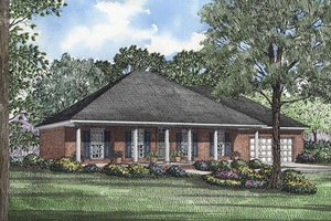 Southern Exterior - Front Elevation Plan #17-1012