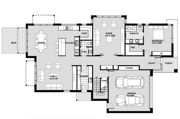 Modern Floor Plan - Main Floor Plan Plan #496-25