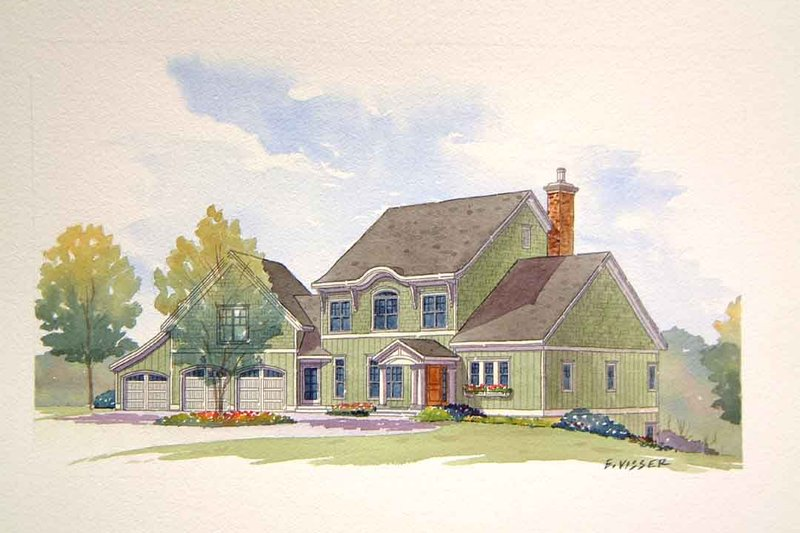 Traditional Style House Plan - 4 Beds 3.5 Baths 3227 Sq/Ft Plan #901-106 Exterior - Front Elevation
